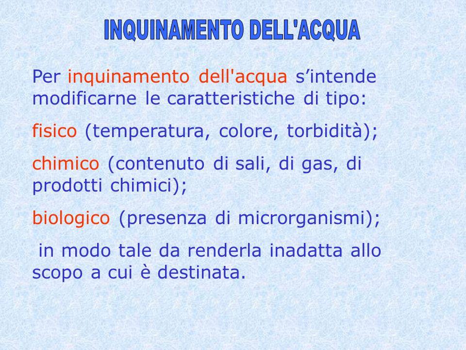 Per inquinamento dell'acqua sintende modificarne le caratteristiche di tipo: fisico (temperatura, colore, torbidità); chimico (contenuto di sali, di g
