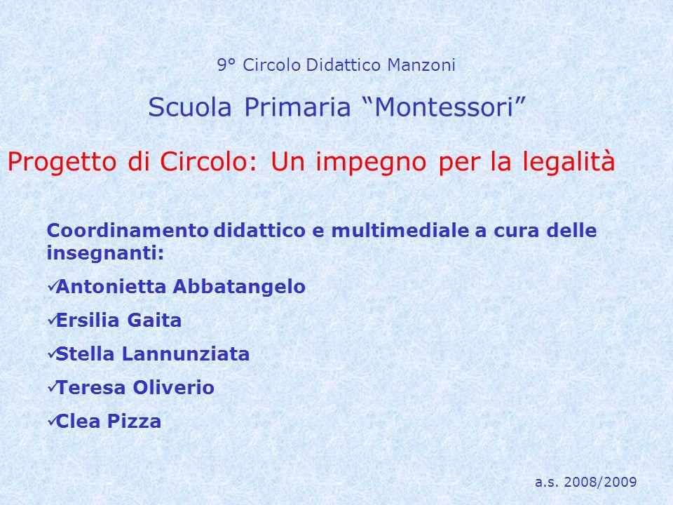 9° Circolo Didattico Manzoni Scuola Primaria Montessori Coordinamento didattico e multimediale a cura delle insegnanti: Antonietta Abbatangelo Ersilia