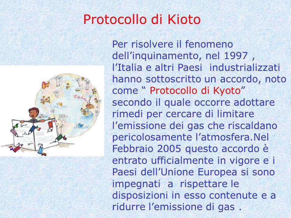 Protocollo di Kioto Per risolvere il fenomeno dellinquinamento, nel 1997, lItalia e altri Paesi industrializzati hanno sottoscritto un accordo, noto c