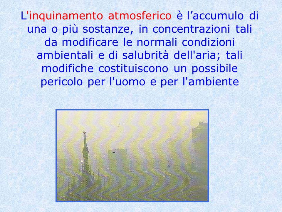 L'inquinamento atmosferico è laccumulo di una o più sostanze, in concentrazioni tali da modificare le normali condizioni ambientali e di salubrità del