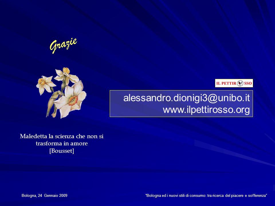 alessandro.dionigi3@unibo.it www.ilpettirosso.org Grazie Maledetta la scienza che non si trasforma in amore [Bousset] Bologna, 24 Gennaio 2009 Bologna
