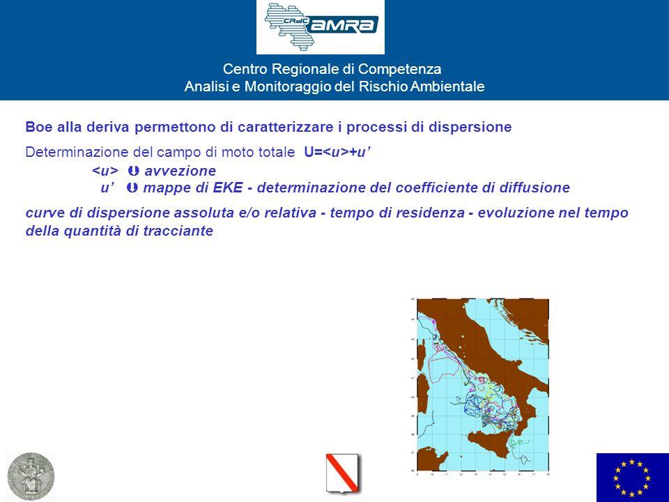 Centro Regionale di Competenza Analisi e Monitoraggio del Rischio Ambientale Traiettorie di traccianti passivi nel Golfo di Napoli Traiettoria in campo puramente avvettivo Traiettoria in campo turbolento Zona di rilascio