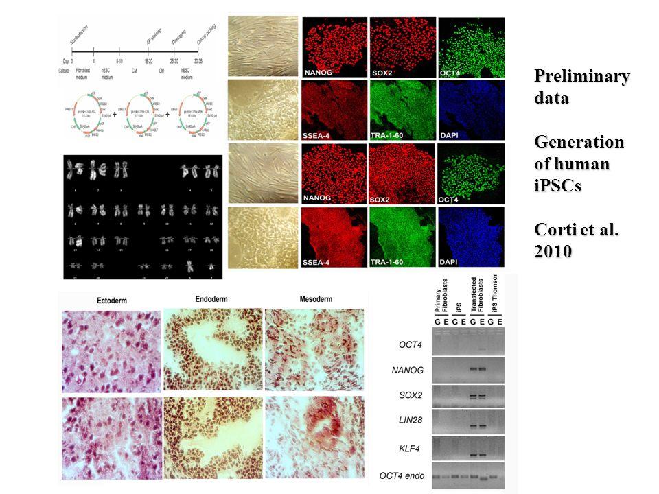 Preliminary data Generation of human iPSCs Corti et al. 2010