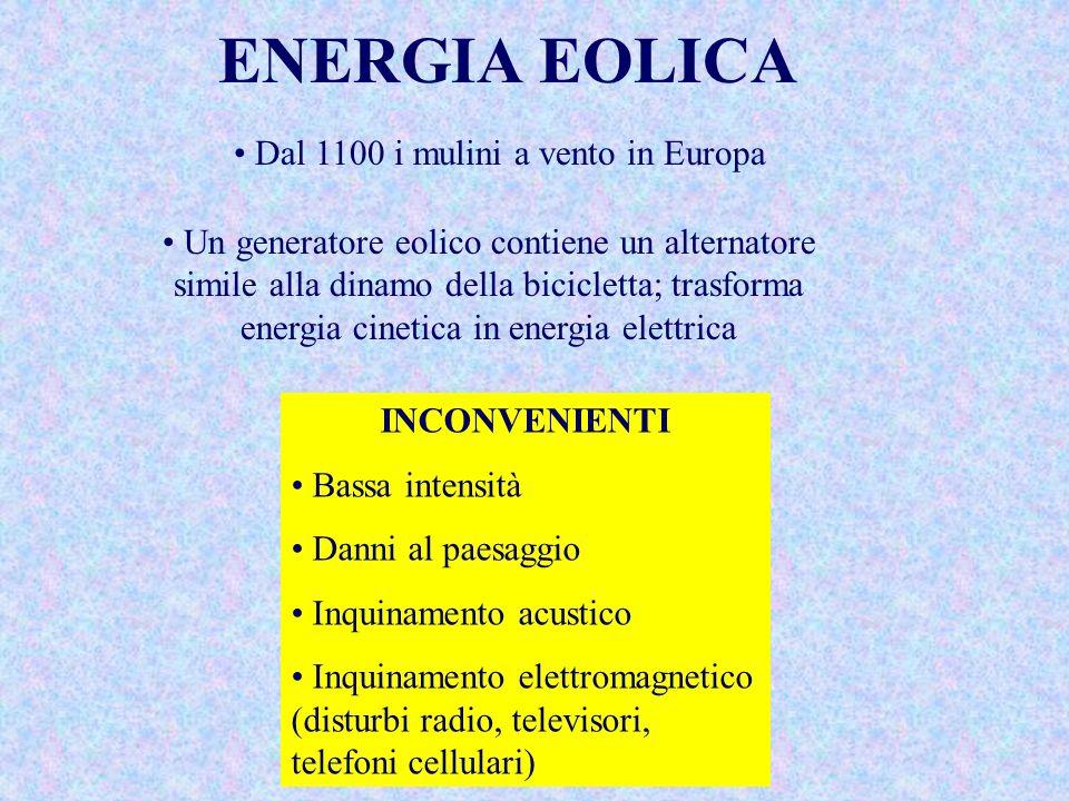 ENERGIA EOLICA Dal 1100 i mulini a vento in Europa Un generatore eolico contiene un alternatore simile alla dinamo della bicicletta; trasforma energia