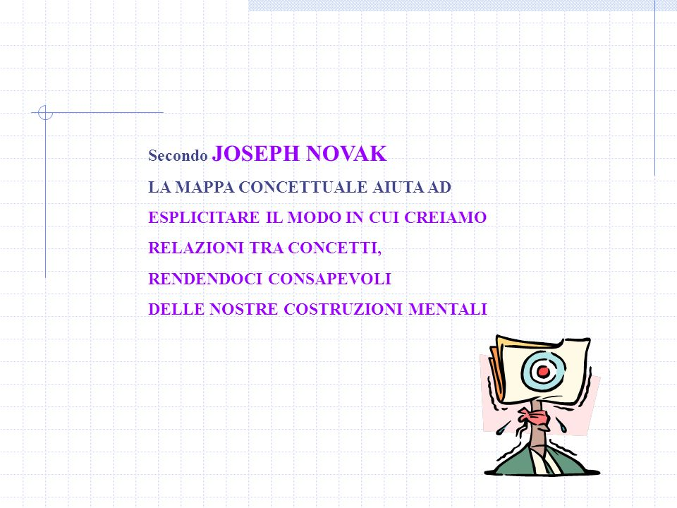 Secondo JOSEPH NOVAK LA MAPPA CONCETTUALE AIUTA AD ESPLICITARE IL MODO IN CUI CREIAMO RELAZIONI TRA CONCETTI, RENDENDOCI CONSAPEVOLI DELLE NOSTRE COST