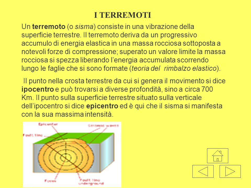 Un terremoto (o sisma) consiste in una vibrazione della superficie terrestre. Il terremoto deriva da un progressivo accumulo di energia elastica in un