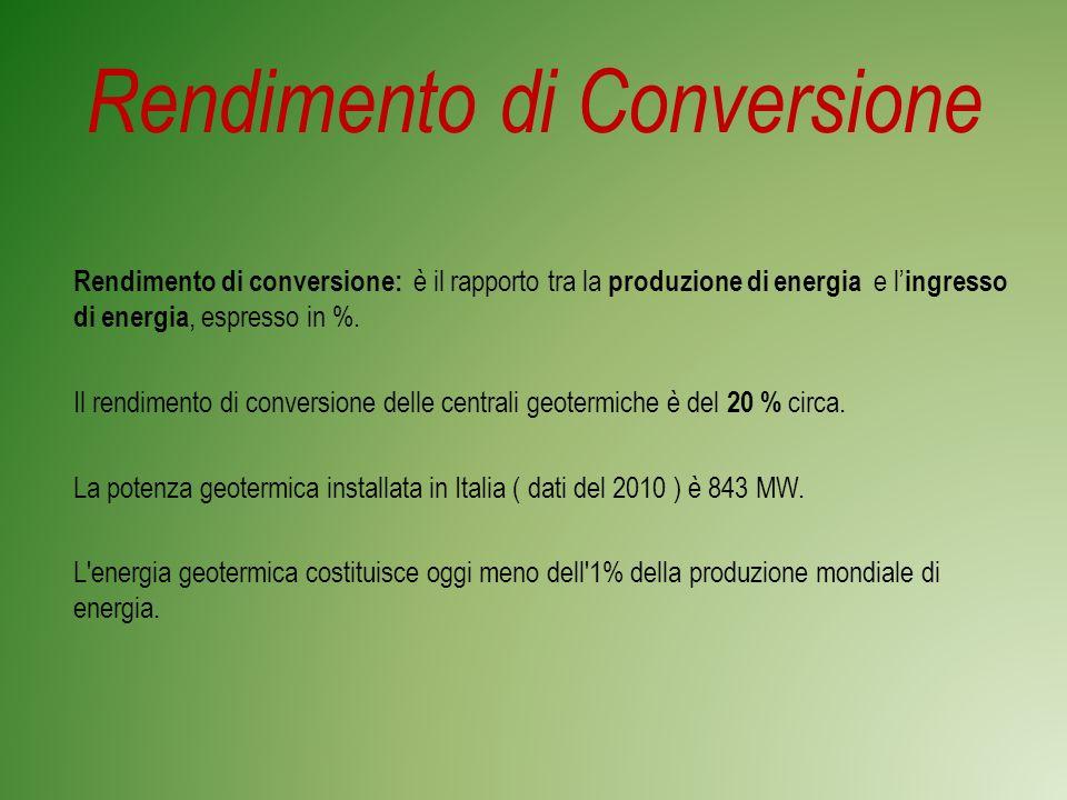 Rendimento di Conversione Rendimento di conversione: è il rapporto tra la produzione di energia e l ingresso di energia, espresso in %.