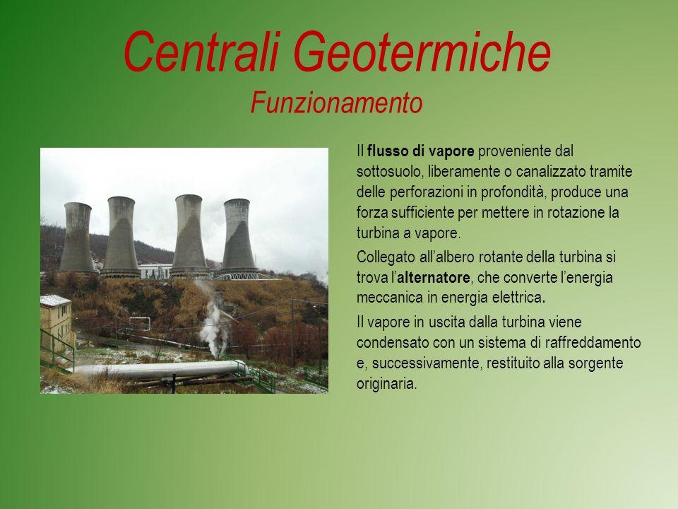 Centrali Geotermiche Funzionamento Il flusso di vapore proveniente dal sottosuolo, liberamente o canalizzato tramite delle perforazioni in profondità, produce una forza sufficiente per mettere in rotazione la turbina a vapore.