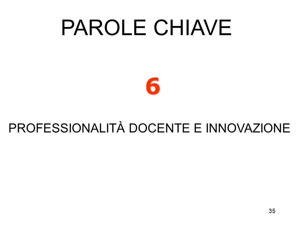 35 6 PROFESSIONALITÀ DOCENTE E INNOVAZIONE PAROLE CHIAVE