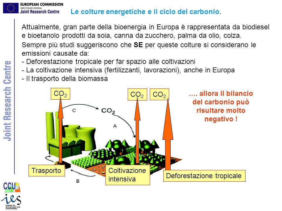 CO 2 Trasporto CO 2 Deforestazione tropicale CO 2 Coltivazione intensiva Attualmente, gran parte della bioenergia in Europa è rappresentata da biodies