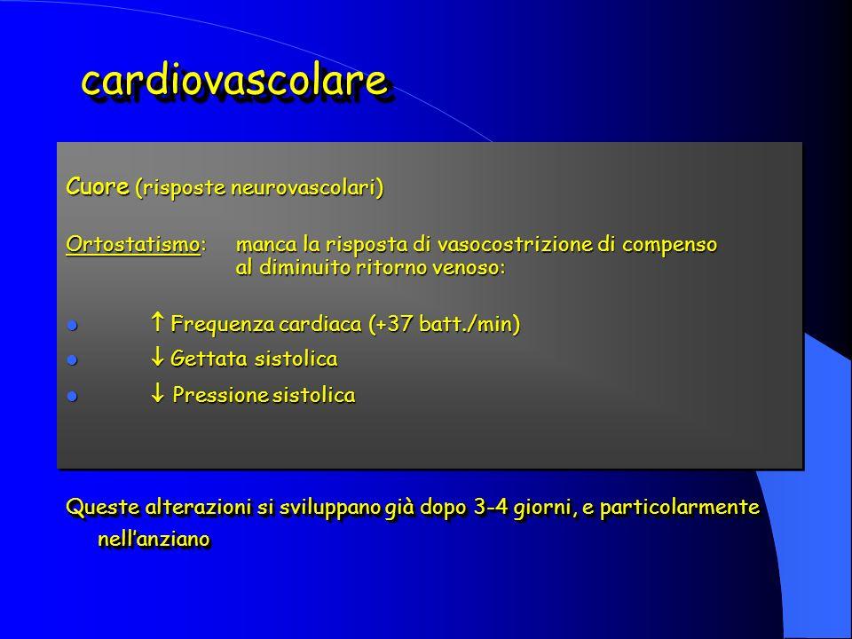 Cuore (risposte neurovascolari) Ortostatismo:manca la risposta di vasocostrizione di compenso al diminuito ritorno venoso: Frequenza cardiaca (+37 batt./min) Frequenza cardiaca (+37 batt./min) Gettata sistolica Gettata sistolica Pressione sistolica Pressione sistolica Queste alterazioni si sviluppano già dopo 3-4 giorni, e particolarmente nellanziano Cuore (risposte neurovascolari) Ortostatismo:manca la risposta di vasocostrizione di compenso al diminuito ritorno venoso: Frequenza cardiaca (+37 batt./min) Frequenza cardiaca (+37 batt./min) Gettata sistolica Gettata sistolica Pressione sistolica Pressione sistolica Queste alterazioni si sviluppano già dopo 3-4 giorni, e particolarmente nellanziano cardiovascolarecardiovascolare