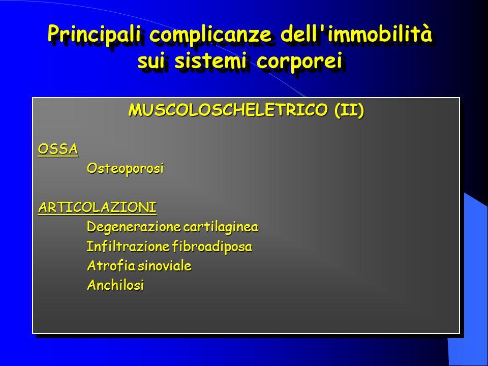 MUSCOLOSCHELETRICO (II) OSSAOsteoporosiARTICOLAZIONI Degenerazione cartilaginea Infiltrazione fibroadiposa Atrofia sinoviale Anchilosi MUSCOLOSCHELETRICO (II) OSSAOsteoporosiARTICOLAZIONI Degenerazione cartilaginea Infiltrazione fibroadiposa Atrofia sinoviale Anchilosi Principali complicanze dell immobilità sui sistemi corporei
