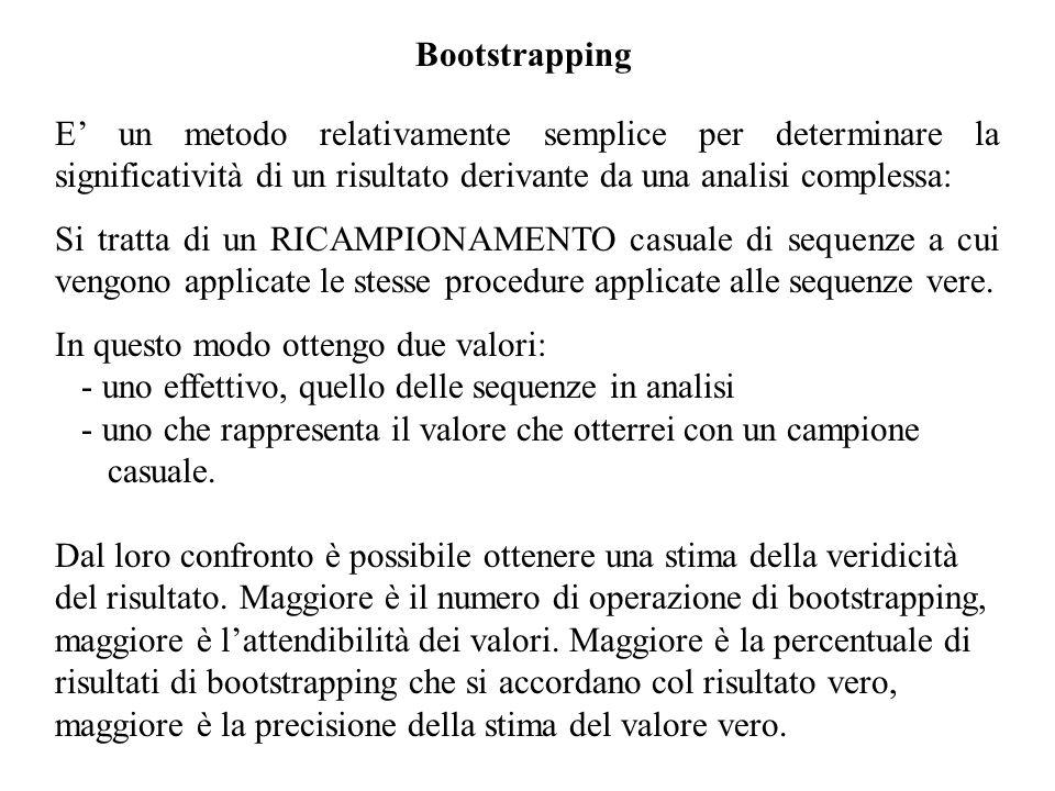 Bootstrapping E un metodo relativamente semplice per determinare la significatività di un risultato derivante da una analisi complessa: Si tratta di u