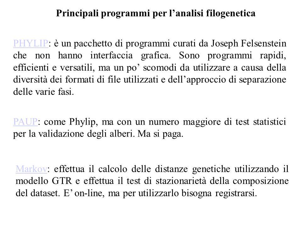 Principali programmi per lanalisi filogenetica PHYLIPPHYLIP: è un pacchetto di programmi curati da Joseph Felsenstein che non hanno interfaccia grafic
