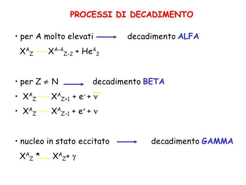 PROCESSI DI DECADIMENTO per A molto elevati decadimento ALFA X A Z X A-4 Z-2 + He 4 2 nucleo in stato eccitato decadimento GAMMA X A Z * X A Z + per Z N decadimento BETA X A Z X A Z+1 + e - + X A Z X A Z-1 + e + +