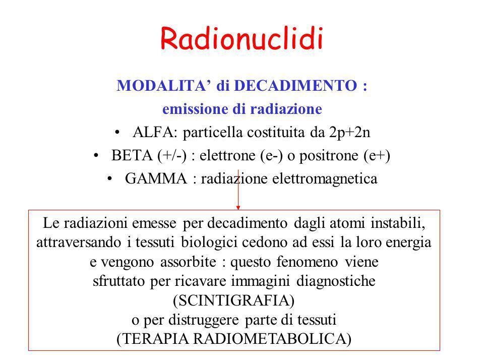 Radionuclidi MODALITA di DECADIMENTO : emissione di radiazione ALFA: particella costituita da 2p+2n BETA (+/-) : elettrone (e-) o positrone (e+) GAMMA : radiazione elettromagnetica Le radiazioni emesse per decadimento dagli atomi instabili, attraversando i tessuti biologici cedono ad essi la loro energia e vengono assorbite : questo fenomeno viene sfruttato per ricavare immagini diagnostiche (SCINTIGRAFIA) o per distruggere parte di tessuti (TERAPIA RADIOMETABOLICA)
