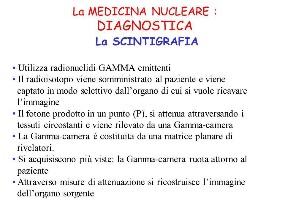 La MEDICINA NUCLEARE : DIAGNOSTICA La SCINTIGRAFIA Utilizza radionuclidi GAMMA emittenti Il radioisotopo viene somministrato al paziente e viene captato in modo selettivo dallorgano di cui si vuole ricavare limmagine Il fotone prodotto in un punto (P), si attenua attraversando i tessuti circostanti e viene rilevato da una Gamma-camera La Gamma-camera è costituita da una matrice planare di rivelatori.