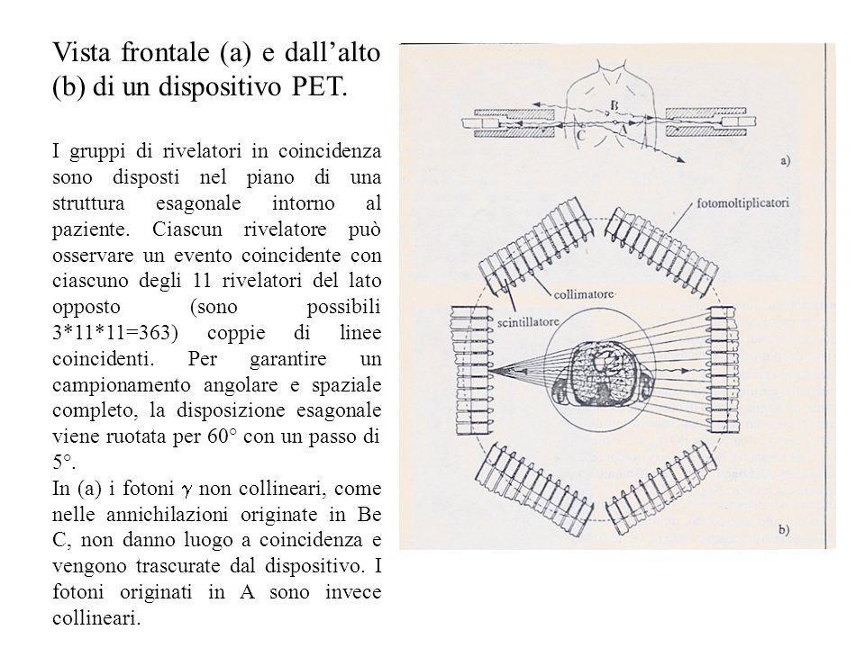 Vista frontale (a) e dallalto (b) di un dispositivo PET. I gruppi di rivelatori in coincidenza sono disposti nel piano di una struttura esagonale into