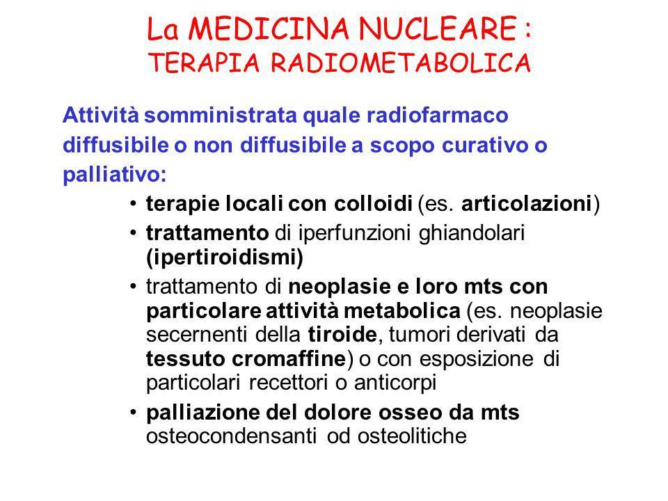 La MEDICINA NUCLEARE : TERAPIA RADIOMETABOLICA Attività somministrata quale radiofarmaco diffusibile o non diffusibile a scopo curativo o palliativo: terapie locali con colloidi (es.