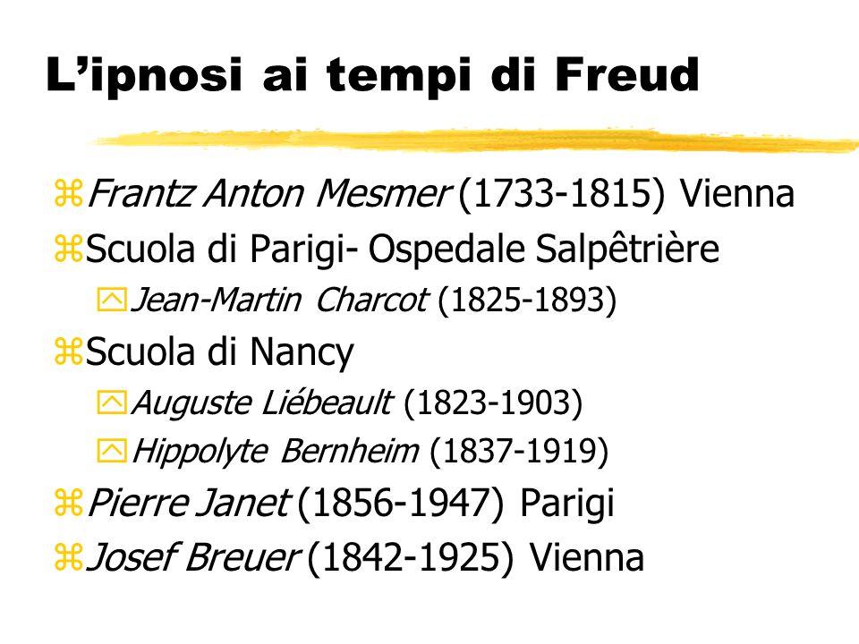 Lipnosi ai tempi di Freud zFrantz Anton Mesmer (1733-1815) Vienna zScuola di Parigi- Ospedale Salpêtrière yJean-Martin Charcot (1825-1893) zScuola di