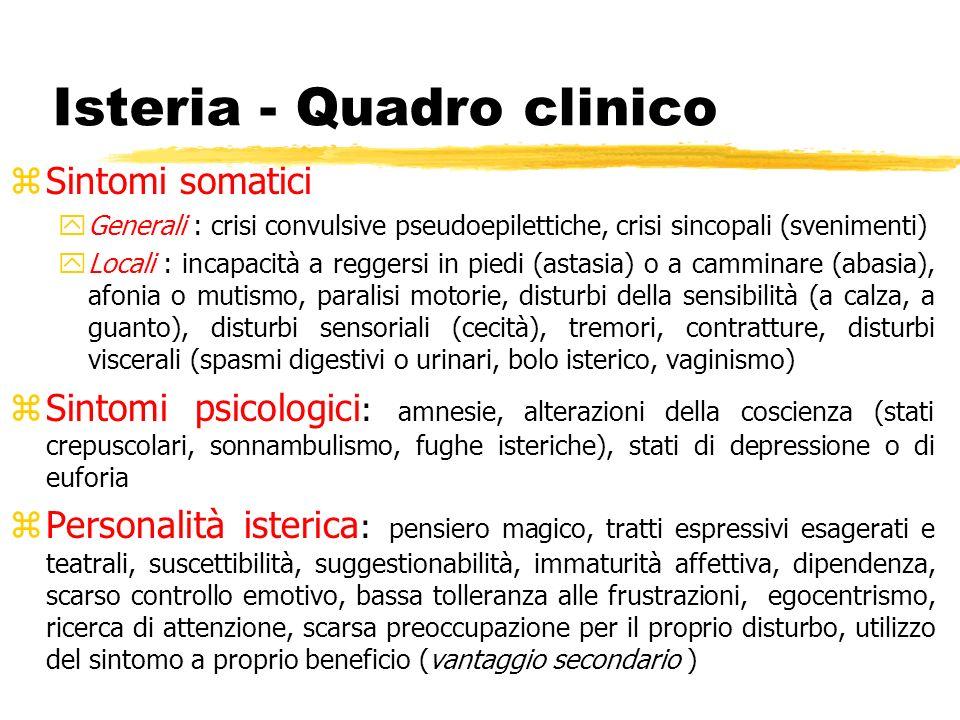 Isteria - Quadro clinico zSintomi somatici yGenerali : crisi convulsive pseudoepilettiche, crisi sincopali (svenimenti) yLocali : incapacità a reggers
