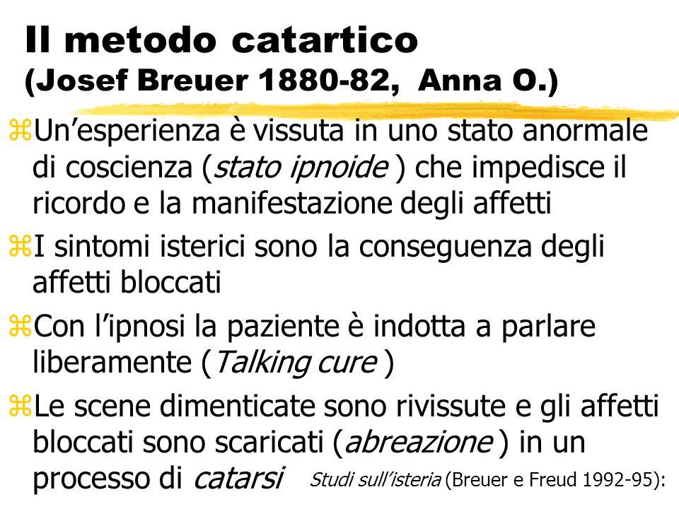 Il metodo catartico (Josef Breuer 1880-82, Anna O.) zUnesperienza è vissuta in uno stato anormale di coscienza (stato ipnoide ) che impedisce il ricor