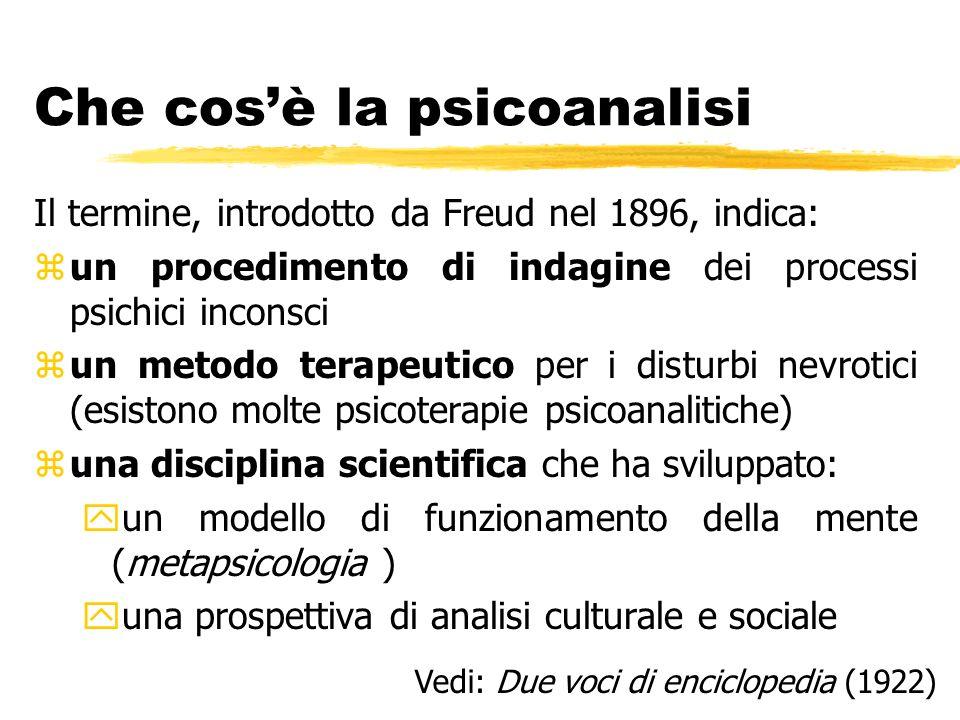 Che cosè la psicoanalisi Il termine, introdotto da Freud nel 1896, indica: zun procedimento di indagine dei processi psichici inconsci zun metodo tera