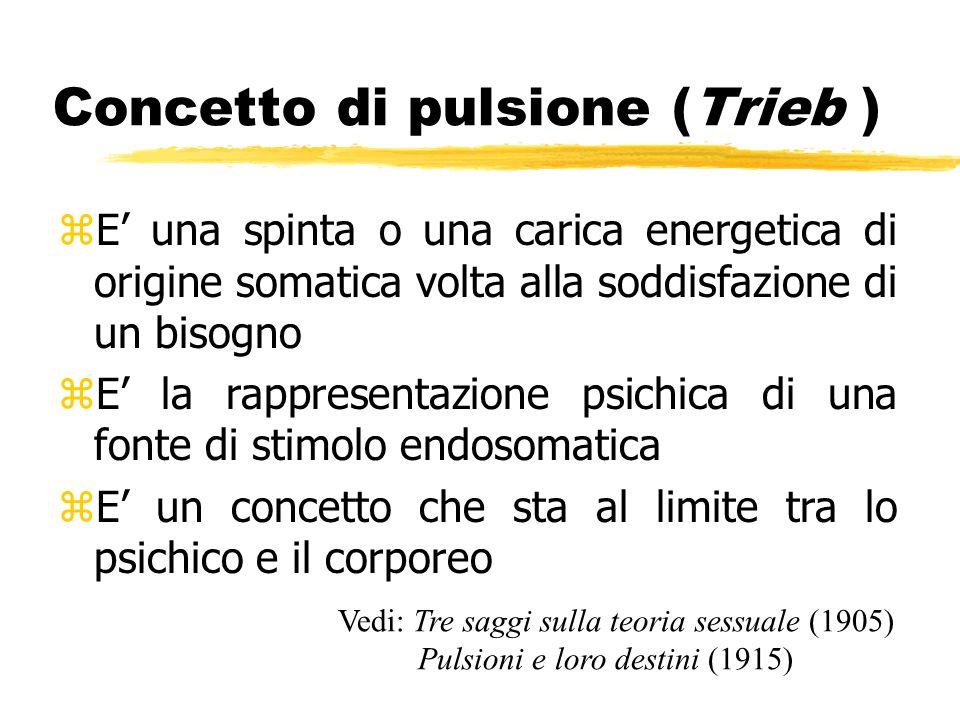 Concetto di pulsione (Trieb ) zE una spinta o una carica energetica di origine somatica volta alla soddisfazione di un bisogno zE la rappresentazione