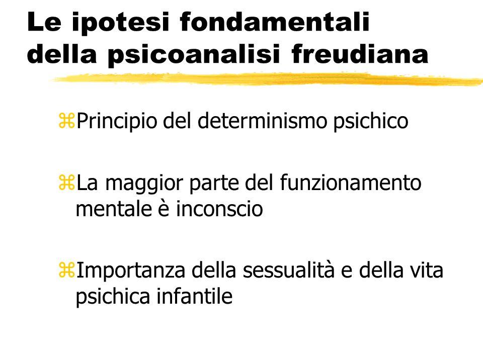 Le ipotesi fondamentali della psicoanalisi freudiana zPrincipio del determinismo psichico zLa maggior parte del funzionamento mentale è inconscio zImp