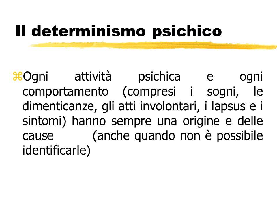 Il determinismo psichico zOgni attività psichica e ogni comportamento (compresi i sogni, le dimenticanze, gli atti involontari, i lapsus e i sintomi)