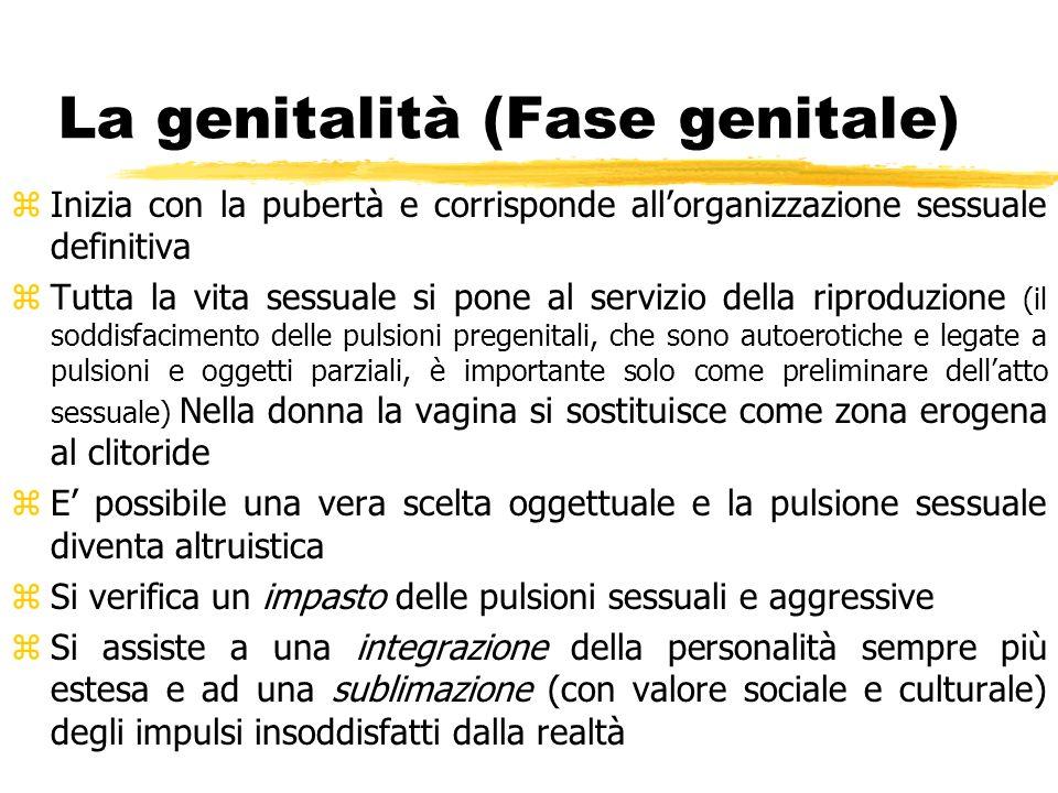 La genitalità (Fase genitale) z Inizia con la pubertà e corrisponde allorganizzazione sessuale definitiva z Tutta la vita sessuale si pone al servizio