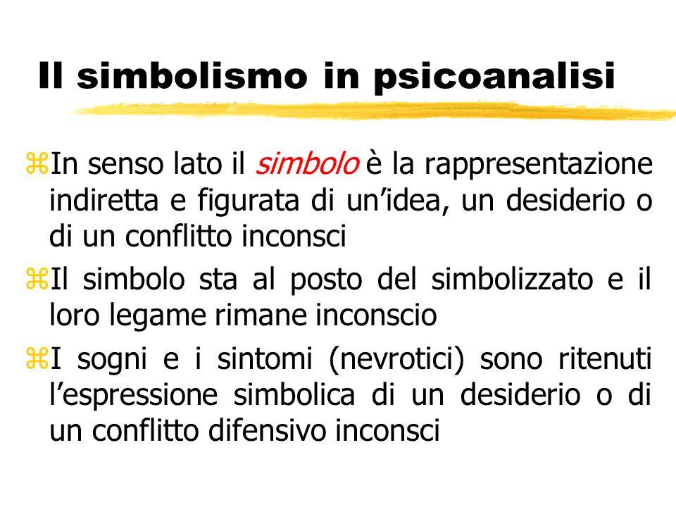 Il simbolismo in psicoanalisi zIn senso lato il simbolo è la rappresentazione indiretta e figurata di unidea, un desiderio o di un conflitto inconsci