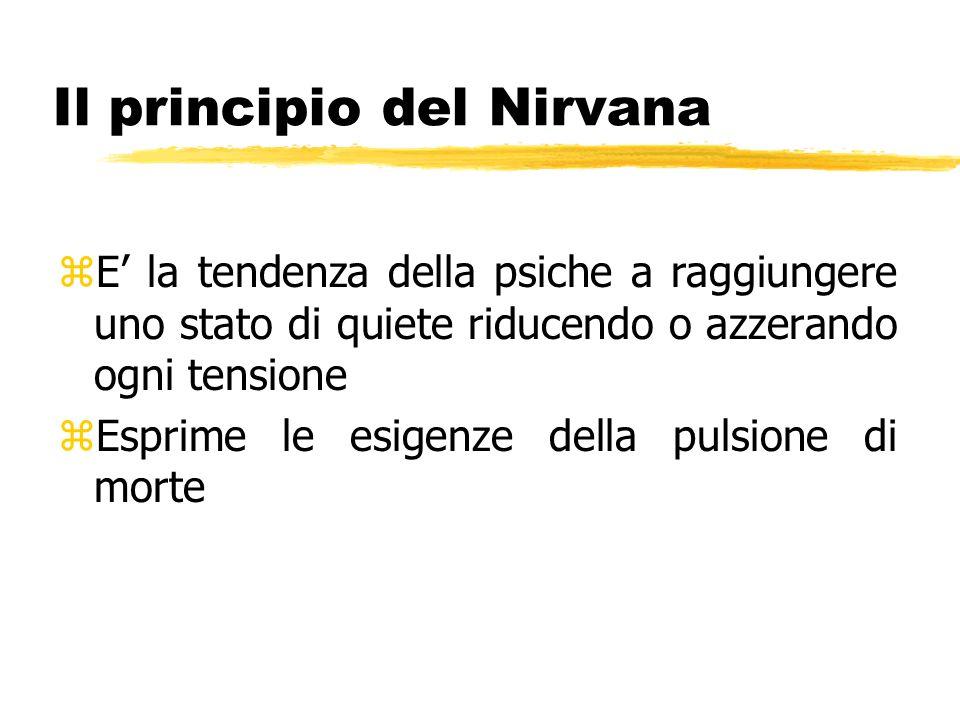 Il principio del Nirvana zE la tendenza della psiche a raggiungere uno stato di quiete riducendo o azzerando ogni tensione zEsprime le esigenze della