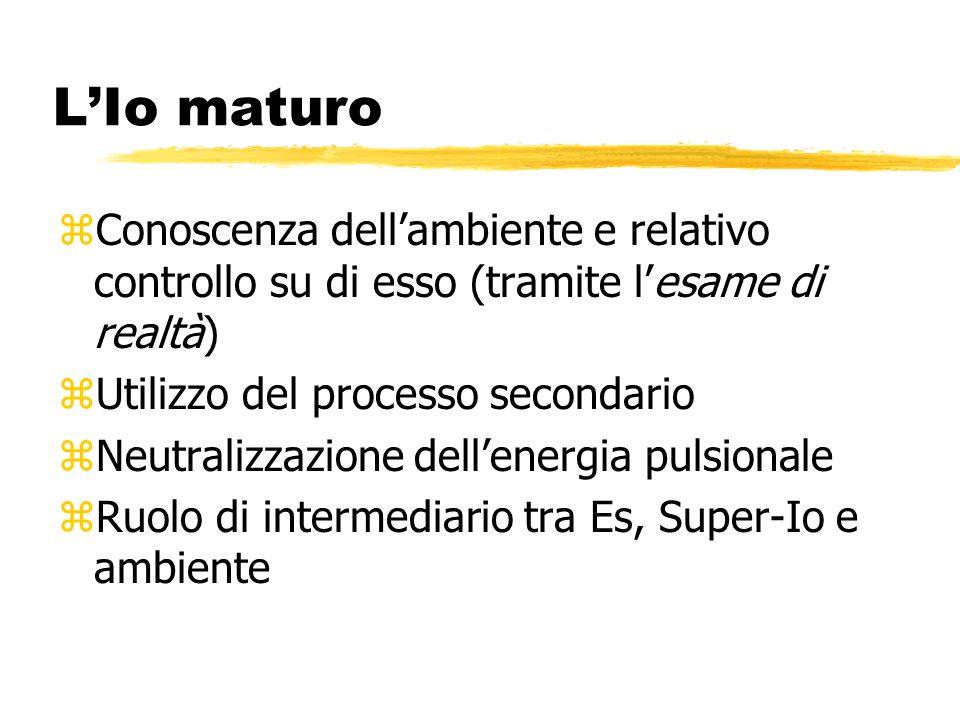 LIo maturo zConoscenza dellambiente e relativo controllo su di esso (tramite lesame di realtà) zUtilizzo del processo secondario zNeutralizzazione del