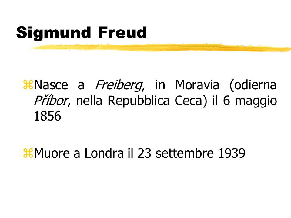 Sigmund Freud zNasce a Freiberg, in Moravia (odierna Příbor, nella Repubblica Ceca) il 6 maggio 1856 zMuore a Londra il 23 settembre 1939