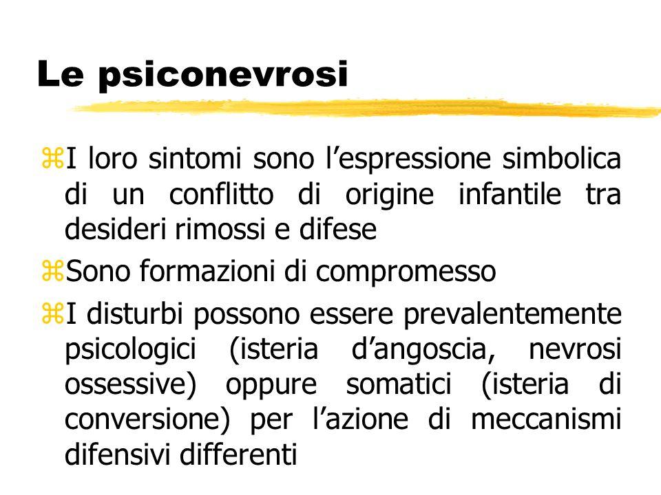 Le psiconevrosi zI loro sintomi sono lespressione simbolica di un conflitto di origine infantile tra desideri rimossi e difese zSono formazioni di com