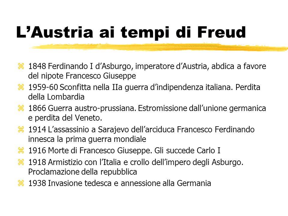 LAustria ai tempi di Freud z1848 Ferdinando I dAsburgo, imperatore dAustria, abdica a favore del nipote Francesco Giuseppe z1959-60 Sconfitta nella II