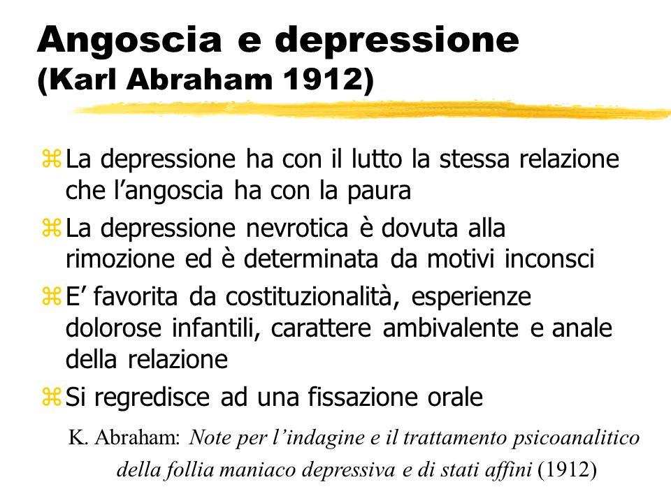 Angoscia e depressione (Karl Abraham 1912) zLa depressione ha con il lutto la stessa relazione che langoscia ha con la paura zLa depressione nevrotica