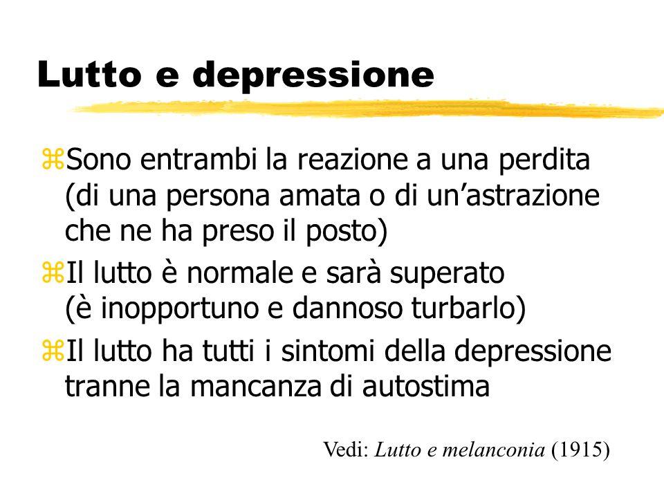Lutto e depressione zSono entrambi la reazione a una perdita (di una persona amata o di unastrazione che ne ha preso il posto) zIl lutto è normale e s