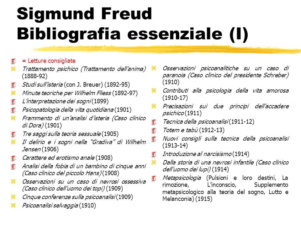 Sigmund Freud Bibliografia essenziale (I) 4= Letture consigliate zTrattamento psichico (Trattamento dellanima) (1888-92) 4Studi sullisteria (con J. Br