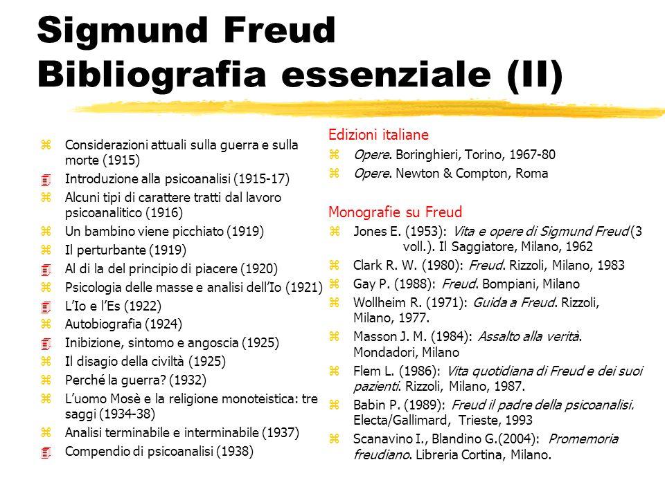 Sigmund Freud Bibliografia essenziale (II) zConsiderazioni attuali sulla guerra e sulla morte (1915) 4Introduzione alla psicoanalisi (1915-17) zAlcuni