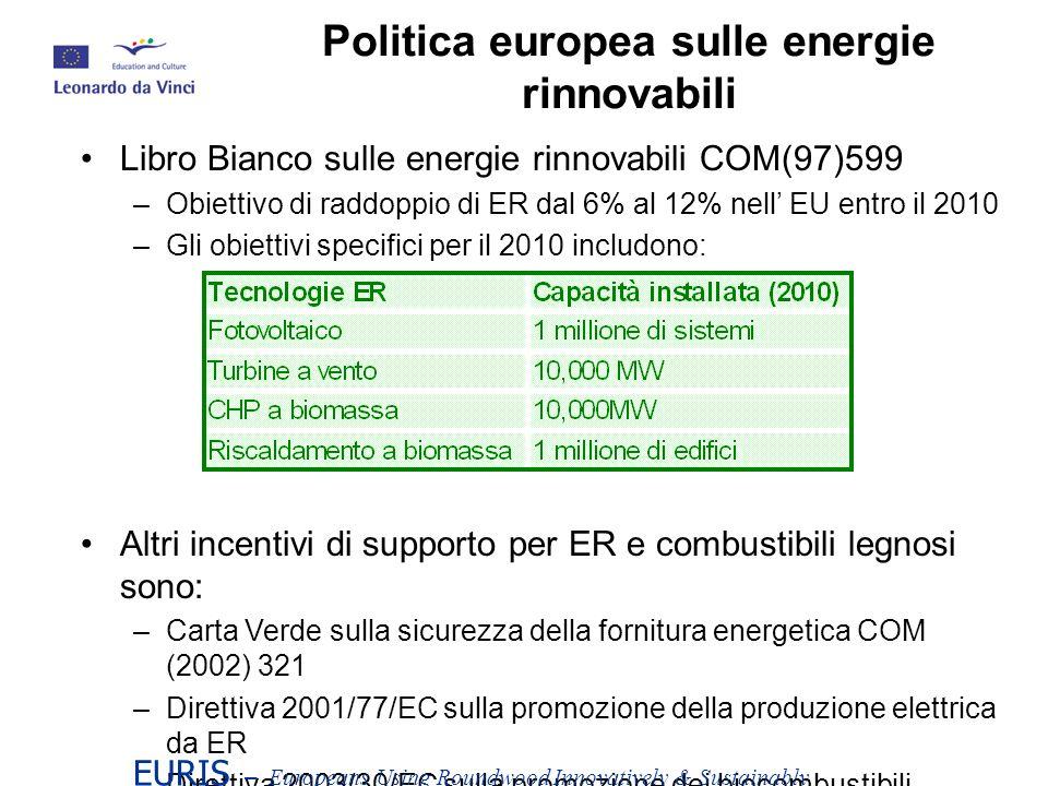 Libro Bianco sulle energie rinnovabili COM(97)599 –Obiettivo di raddoppio di ER dal 6% al 12% nell EU entro il 2010 –Gli obiettivi specifici per il 2010 includono: Altri incentivi di supporto per ER e combustibili legnosi sono: –Carta Verde sulla sicurezza della fornitura energetica COM (2002) 321 –Direttiva 2001/77/EC sulla promozione della produzione elettrica da ER –Direttiva 2003/30/EC sulla promozione dei biocombustibili –Programma di supporto: Energie Intellegente - Europe (2003-06) EURIS – Europeans Using Roundwood Innovatively & Sustainably Politica europea sulle energie rinnovabili