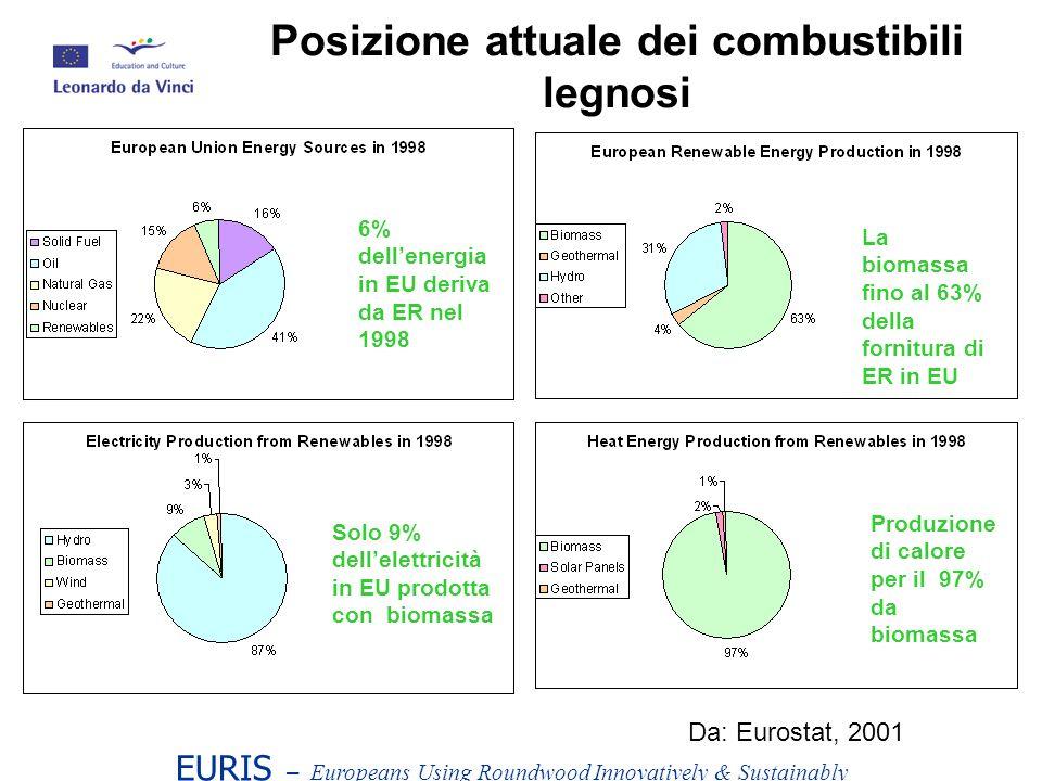EURIS – Europeans Using Roundwood Innovatively & Sustainably Posizione attuale dei combustibili legnosi 6% dellenergia in EU deriva da ER nel 1998 La biomassa fino al 63% della fornitura di ER in EU Solo 9% dellelettricità in EU prodotta con biomassa Produzione di calore per il 97% da biomassa Da: Eurostat, 2001