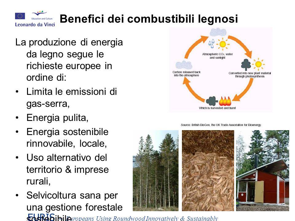 EURIS – Europeans Using Roundwood Innovatively & Sustainably La produzione di energia da legno segue le richieste europee in ordine di: Limita le emissioni di gas-serra, Energia pulita, Energia sostenibile rinnovabile, locale, Uso alternativo del territorio & imprese rurali, Selvicoltura sana per una gestione forestale sostenibile.