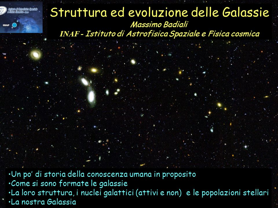 Struttura ed evoluzione delle Galassie Massimo Badiali INAF - Istituto di Astrofisica Spaziale e Fisica cosmica Un po di storia della conoscenza umana