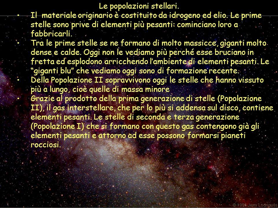 Le popolazioni stellari. Il materiale originario è costituito da idrogeno ed elio. Le prime stelle sono prive di elementi più pesanti: cominciano loro