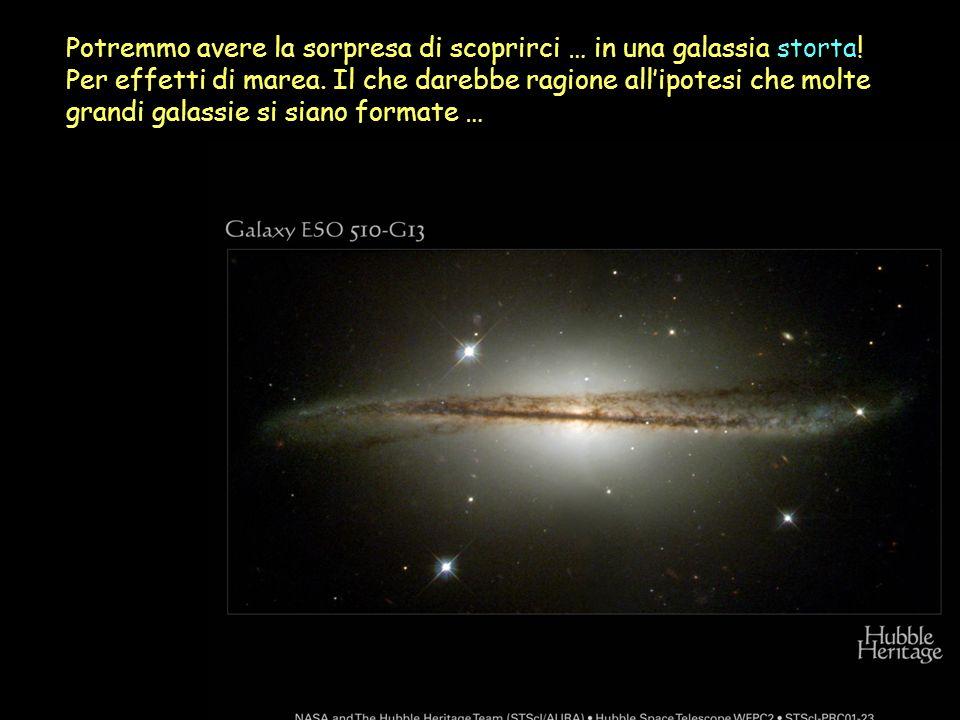 Potremmo avere la sorpresa di scoprirci … in una galassia storta! Per effetti di marea. Il che darebbe ragione allipotesi che molte grandi galassie si