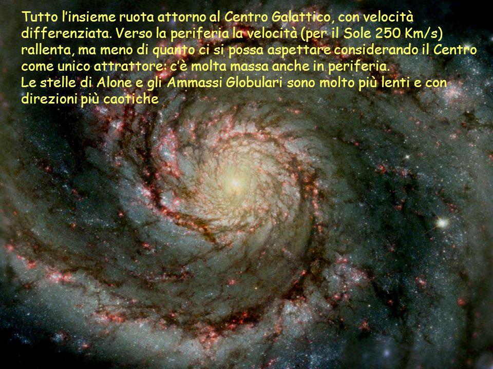 Tutto linsieme ruota attorno al Centro Galattico, con velocità differenziata. Verso la periferia la velocità (per il Sole 250 Km/s) rallenta, ma meno