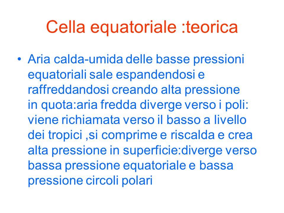 Cella equatoriale :teorica Aria calda-umida delle basse pressioni equatoriali sale espandendosi e raffreddandosi creando alta pressione in quota:aria