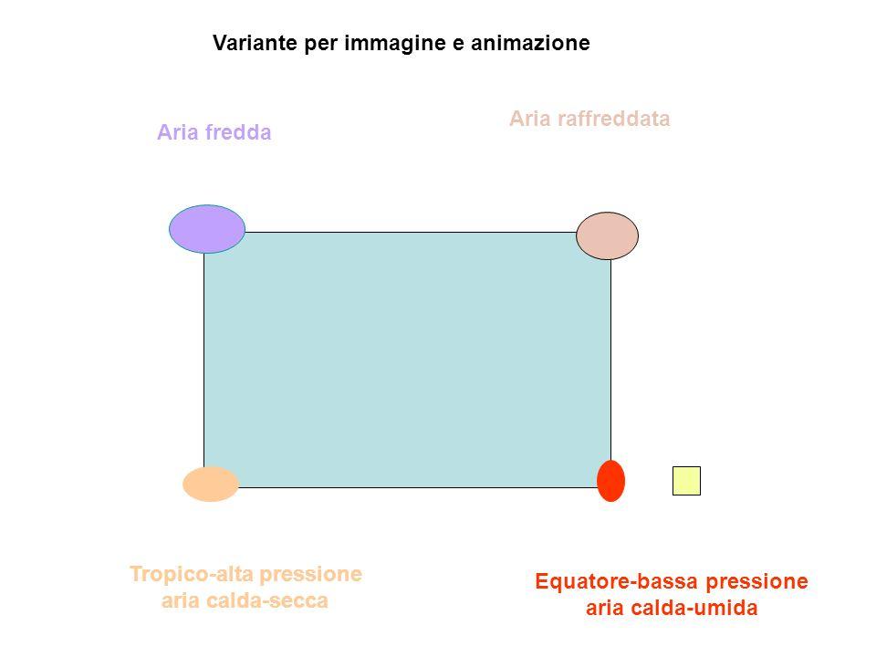 Equatore-bassa pressione aria calda-umida Tropico-alta pressione aria calda-secca Aria raffreddata Aria fredda Variante per immagine e animazione